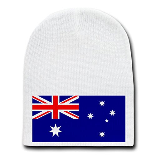 Australia - World Country National Flags - White Beanie Skull Cap Hat
