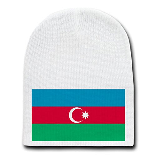 Azerbaijan - World Country National Flags - White Beanie Skull Cap Hat