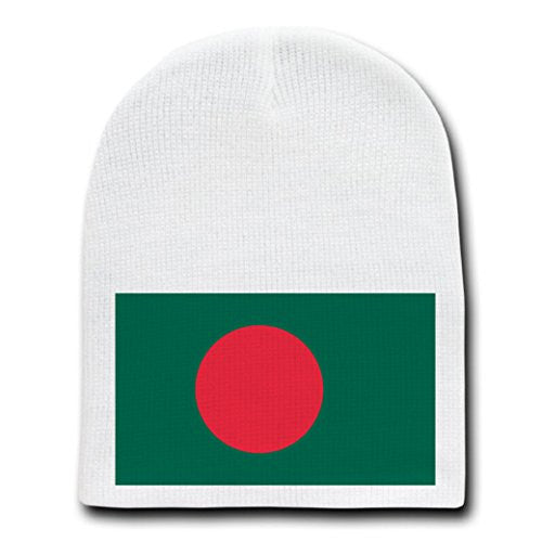 Bangladesh - World Country National Flags - White Beanie Skull Cap Hat
