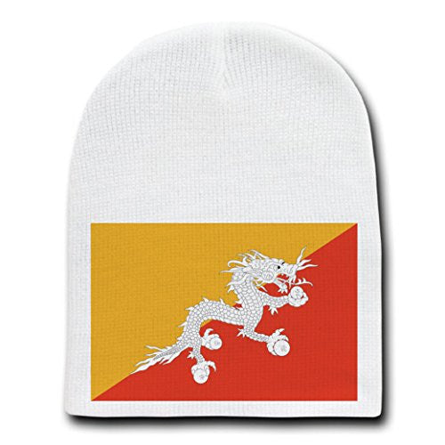 Bhutan - World Country National Flags - White Beanie Skull Cap Hat