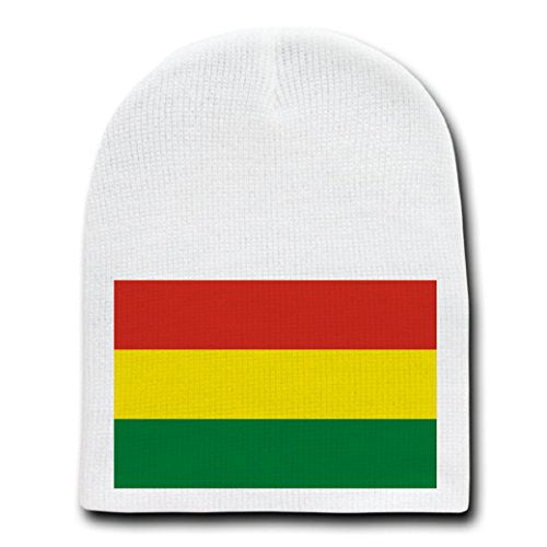 Bolivia - World Country National Flags - White Beanie Skull Cap Hat