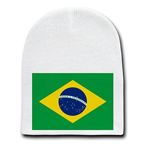 Brazil - World Country National Flags - White Beanie Skull Cap Hat