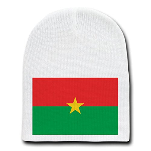 Burkina Faso - World Country National Flags - White Beanie Skull Cap Hat