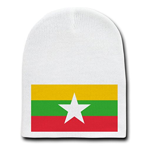 Burma (Myanmar) - World Country National Flags - White Beanie Skull Cap Hat