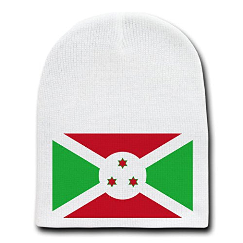 Burundi - World Country National Flags - White Beanie Skull Cap Hat