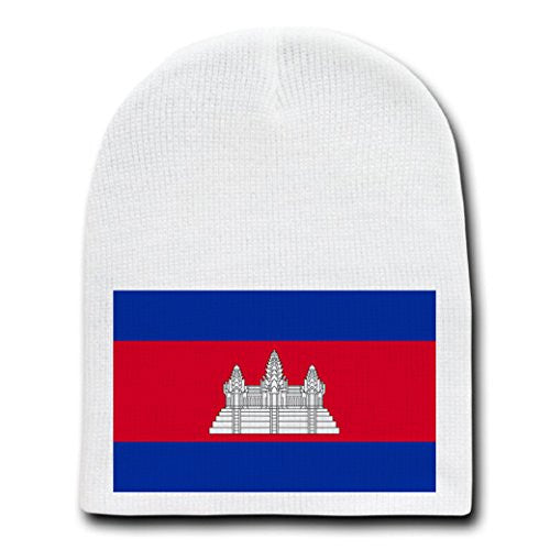 Cambodia - World Country National Flags - White Beanie Skull Cap Hat