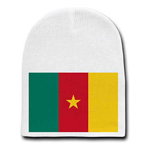 Cameroon - World Country National Flags - White Beanie Skull Cap Hat