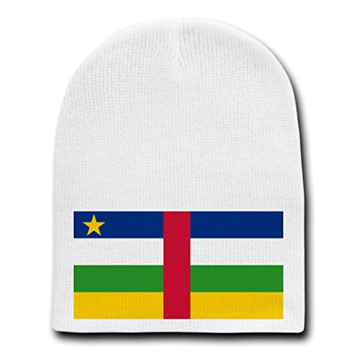 Central African Republic - World Country National Flags - White Beanie Skull Cap Hat