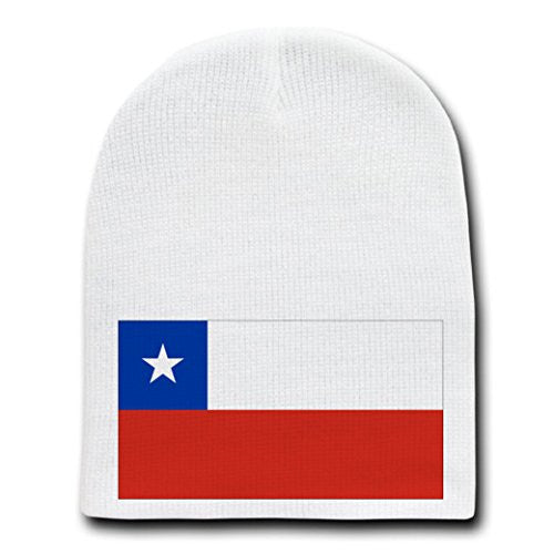 Chile - World Country National Flags - White Beanie Skull Cap Hat