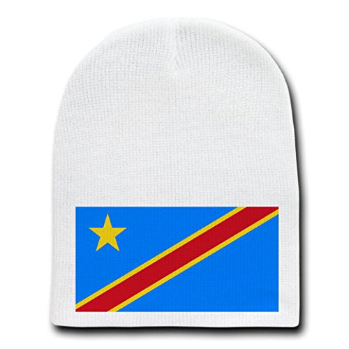 Democratic Republic of the Congo - National Flags - White Beanie Skull Cap Hat
