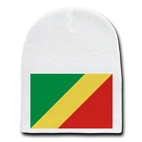 Republic of the Congo - World Country National Flags - White Beanie Skull Cap Hat