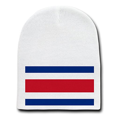 Costa Rica - World Country National Flags - White Beanie Skull Cap Hat