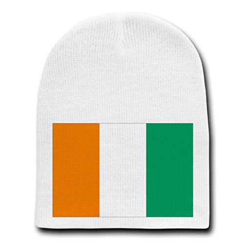 Cote d'Ivoire(Ivory Coast)-World Country National Flags-White Beanie Skull Cap Hat