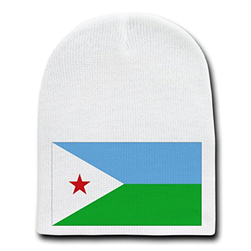 Djibouti - World Country National Flags - White Beanie Skull Cap Hat