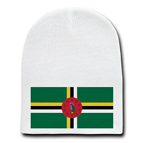 Dominica - World Country National Flags - White Beanie Skull Cap Hat