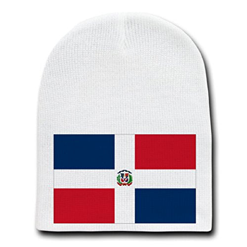 Dominican Republic - World Country National Flags - White Beanie Skull Cap Hat