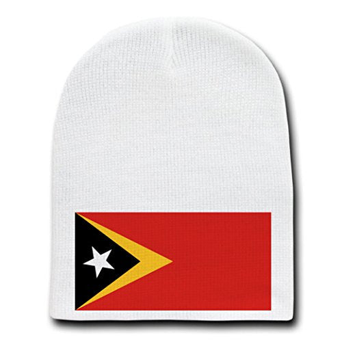 East Timor - World Country National Flags - White Beanie Skull Cap Hat