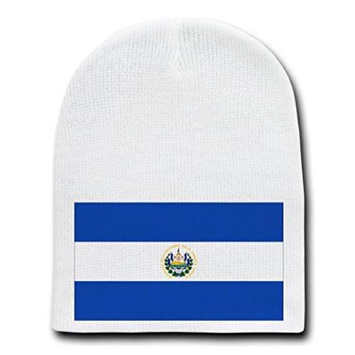 El Salvador - World Country National Flags - White Beanie Skull Cap Hat