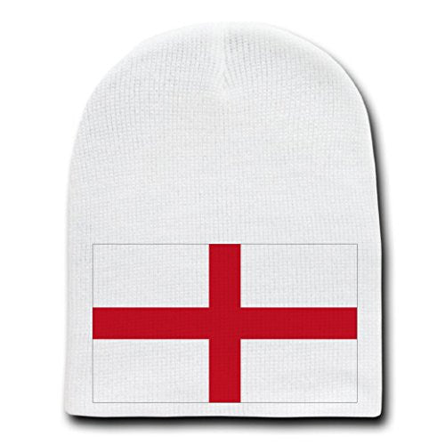 England - World Country National Flags - White Beanie Skull Cap Hat