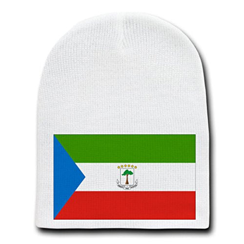 Equatorial Guinea - World Country National Flags - White Beanie Skull Cap Hat