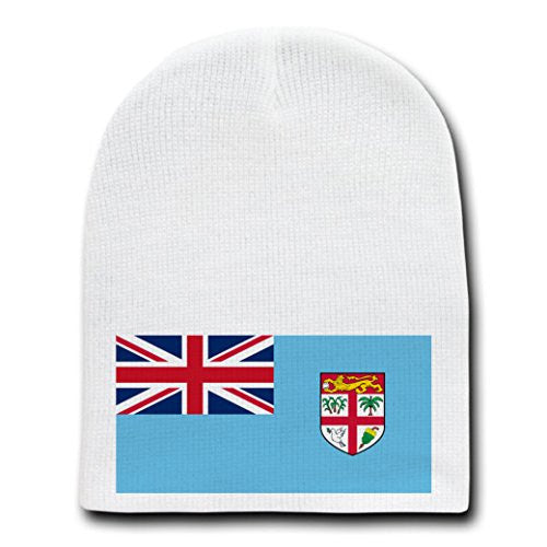 Fiji - World Country National Flags - White Beanie Skull Cap Hat