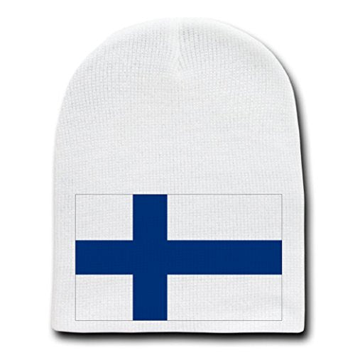 Finland - World Country National Flags - White Beanie Skull Cap Hat