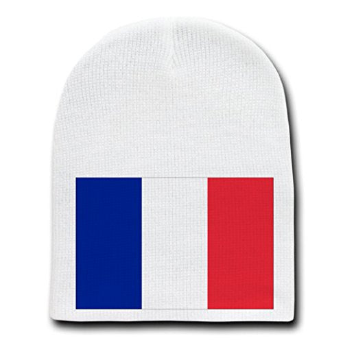 France - World Country National Flags - White Beanie Skull Cap Hat