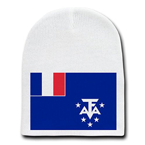 French Southern & Antarctic Lands - National Flags - White Beanie Skull Cap Hat