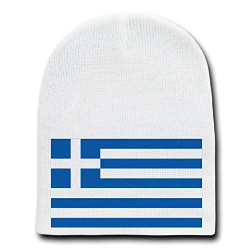 Greece - World Country National Flags - White Beanie Skull Cap Hat