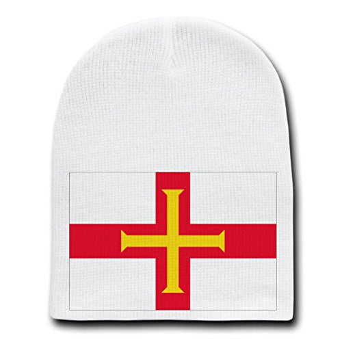Guernsey - World Country National Flags - White Beanie Skull Cap Hat