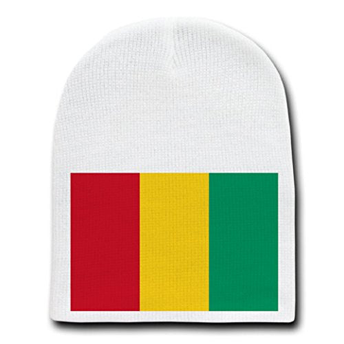 Guinea - World Country National Flags - White Beanie Skull Cap Hat