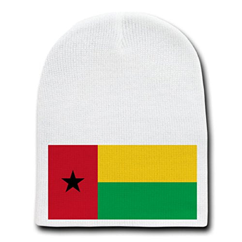 Guinea-Bissau - World Country National Flags - White Beanie Skull Cap Hat