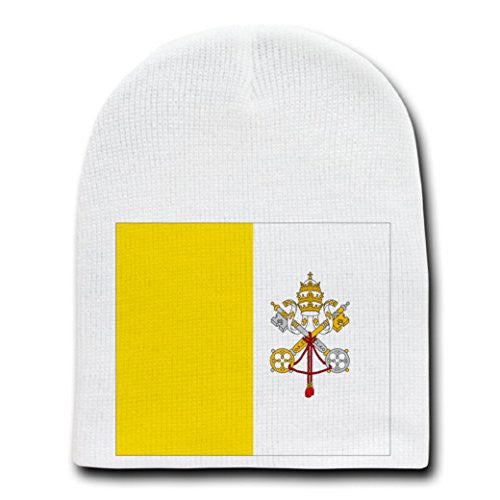 Holy See (Vatican City) - World Country National Flags - White Beanie Skull Cap Hat