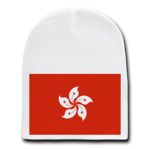 Hong Kong - World Country National Flags - White Beanie Skull Cap Hat