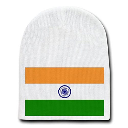 India - World Country National Flags - White Beanie Skull Cap Hat