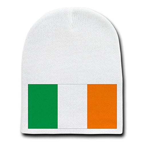 Ireland - World Country National Flags - White Beanie Skull Cap Hat