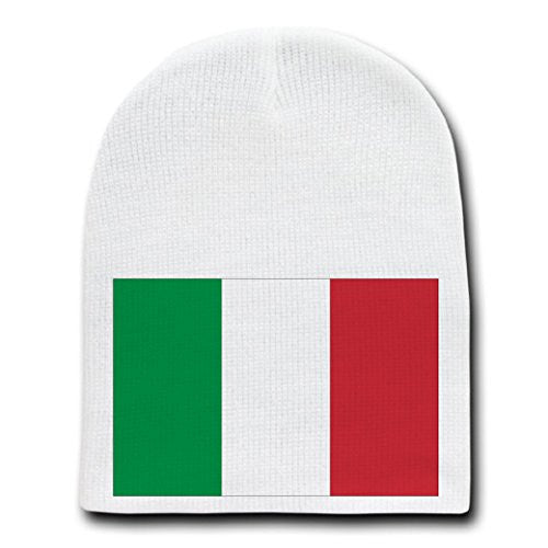 Italy - World Country National Flags - White Beanie Skull Cap Hat