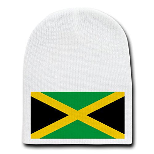 Jamaica - World Country National Flags - White Beanie Skull Cap Hat