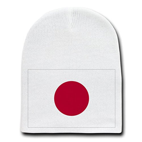 Japan - World Country National Flags - White Beanie Skull Cap Hat