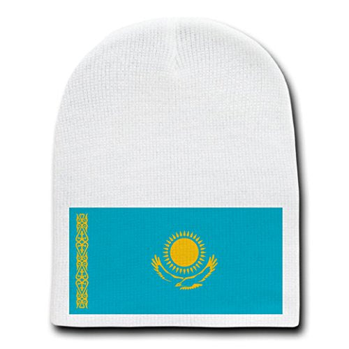 Kazakhstan - World Country National Flags - White Beanie Skull Cap Hat