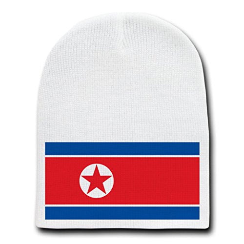 North Korea - World Country National Flags - White Beanie Skull Cap Hat