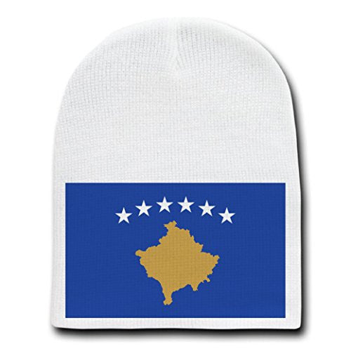 Kosovo - World Country National Flags - White Beanie Skull Cap Hat