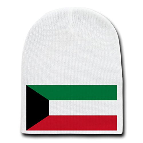 Kuwait - World Country National Flags - White Beanie Skull Cap Hat