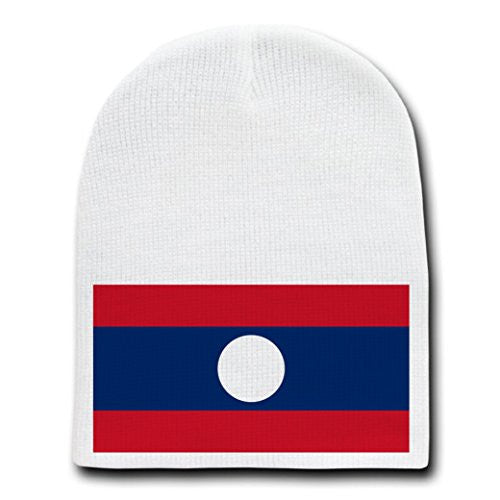 Laos - World Country National Flags - White Beanie Skull Cap Hat