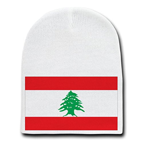 Lebanon - World Country National Flags - White Beanie Skull Cap Hat