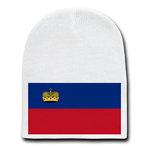Liechtenstein - World Country National Flags - White Beanie Skull Cap Hat