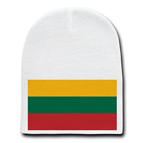 Lithuania - World Country National Flags - White Beanie Skull Cap Hat