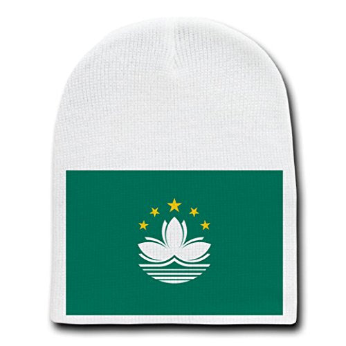 Macau - World Country National Flags - White Beanie Skull Cap Hat