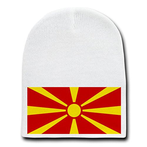 Macedonia - World Country National Flags - White Beanie Skull Cap Hat