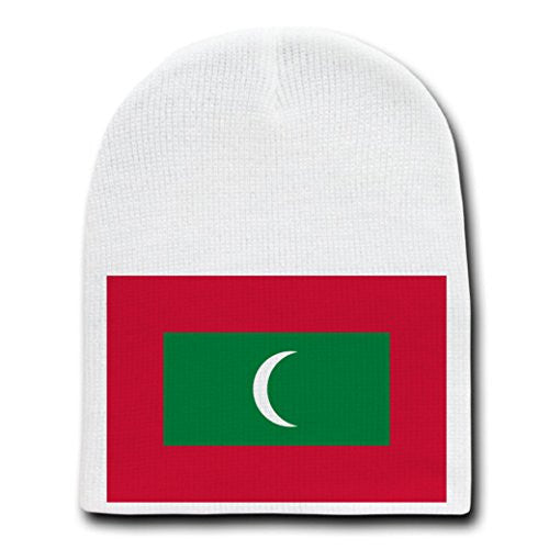 Maldives - World Country National Flags - White Beanie Skull Cap Hat
